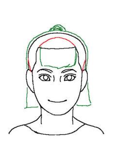 髪正面3補助線