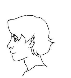 髪横顔1線画