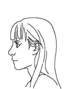 髪横顔2線画