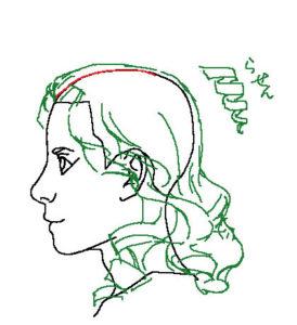 髪横顔4補助線