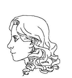 髪横顔4線画