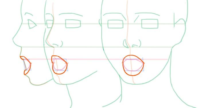 開いた口の唇の位置