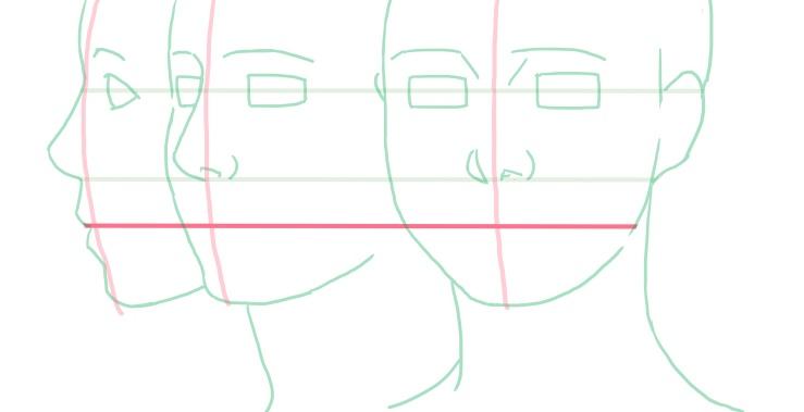 口の位置の補助線