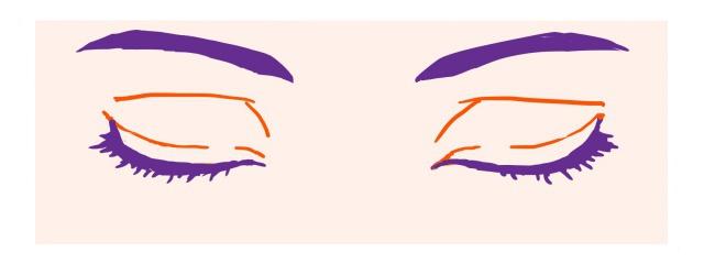 キャラ目~切れ長な目の閉じ目