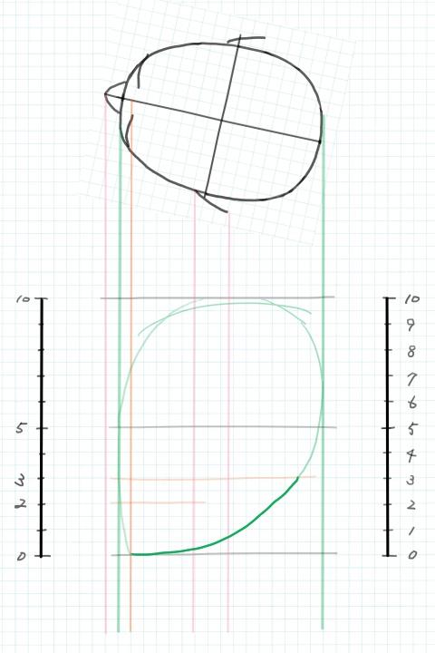頭の輪郭線を描く2
