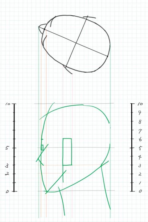 斜め後ろ向きの図2~下絵