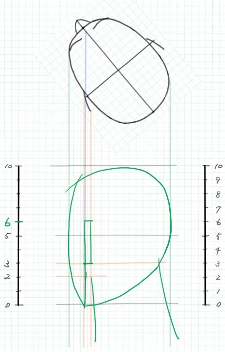 斜め後ろ向きの図3~下絵