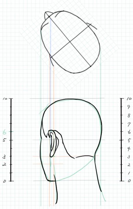 斜め後ろ向きの図3~主線入れ