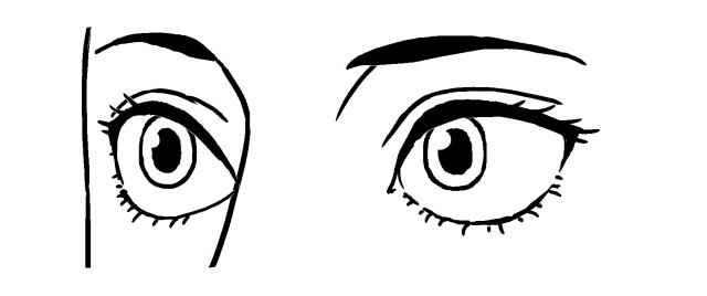 斜め目の描き方~例1モノクロ