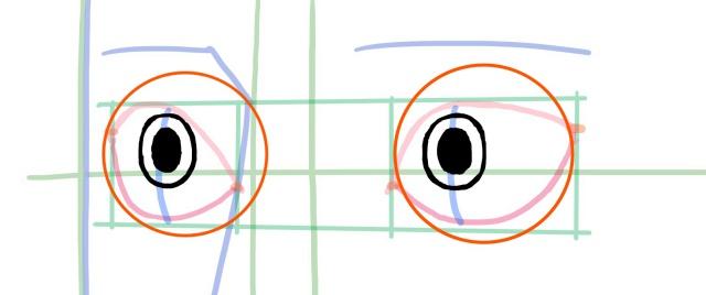 斜め目の描き方~目玉