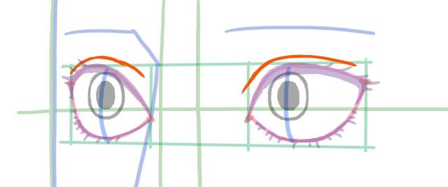 斜め目の描き方~二重