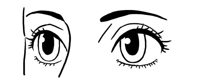 斜め目の描き方~例3モノクロ