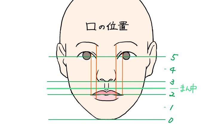 顔の中の口の位置